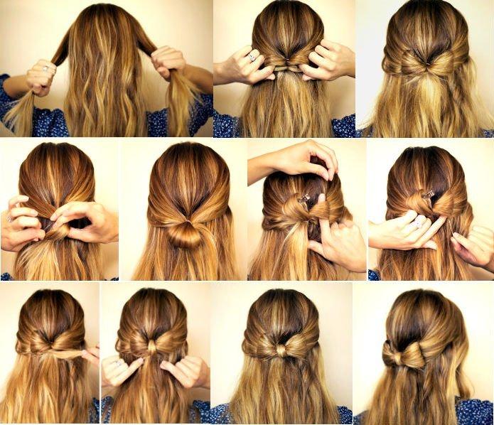 Прическа бантик из волос пошаговая инструкция картинки 4
