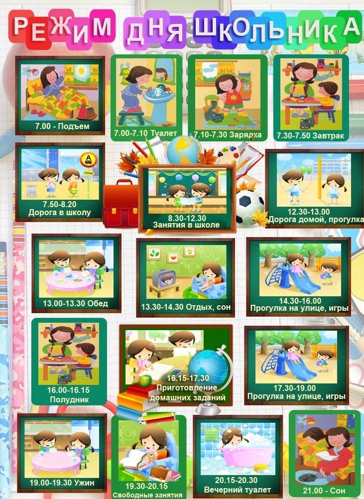 режим дня для школьников 1 класса в картинках