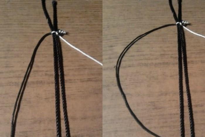 Завязываем обычный узелок на расстоянии 4-6 сантиметров от