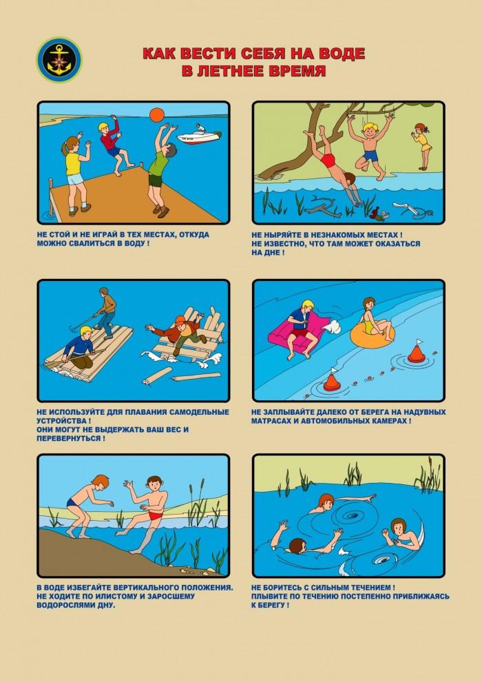 Иллюстрированная таблица правил поведения на воде в летнее время