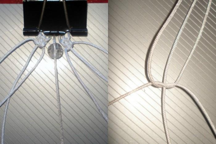Из трёх крайних ниток свяжи квадратный плоский узел