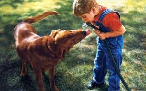 Рисунок: мальчик и собака пьют воду из шланга