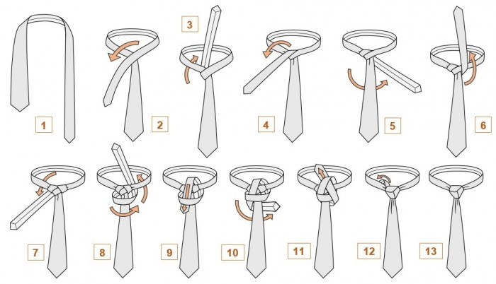 Узел-подушечка для завязывания галстука, схема