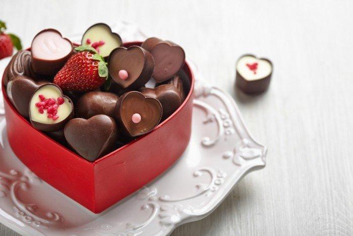 Коборка конфет-сердечек