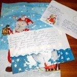 Дед Мороз красками, письмо и конверт