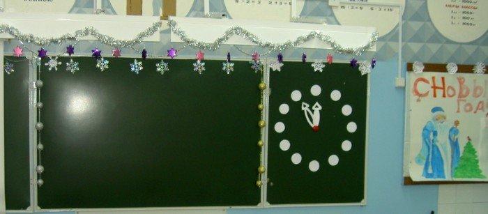 Зелёная школьная доска с бумажными часами
