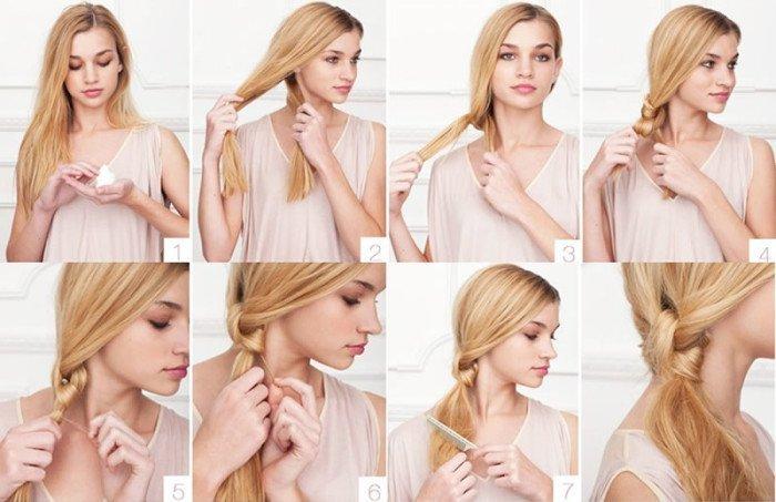 Блондинка завязывает волосы узлом