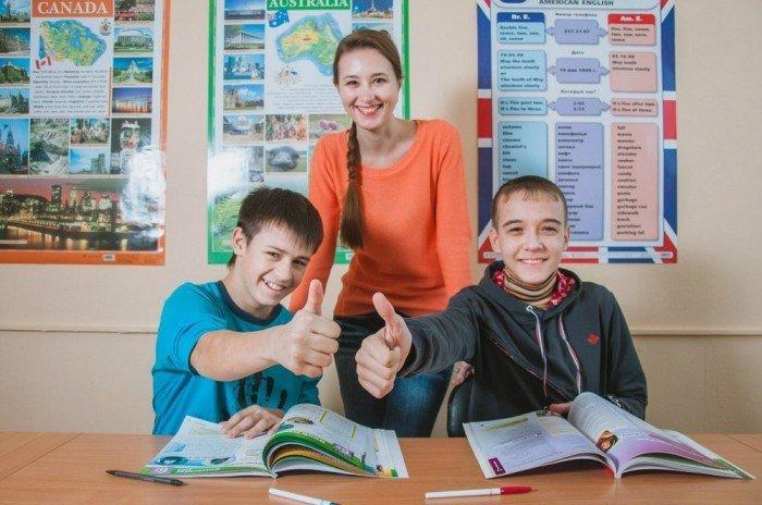 Дети и учитель на уроке английского