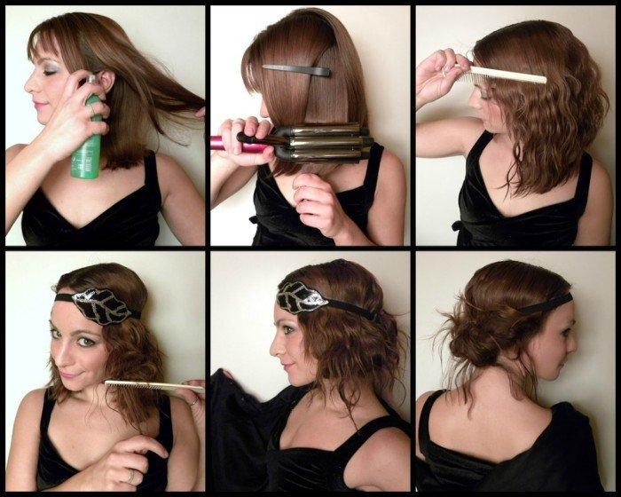 Девушкаделает причёску в греческом стиле