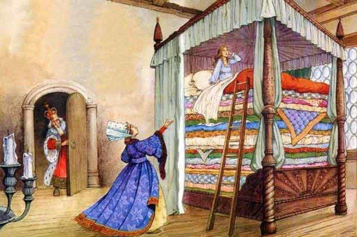 Принцесса на горошине, иллюстрация для детской книги