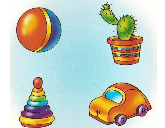 Мяч, кактус, пирамида и машинка