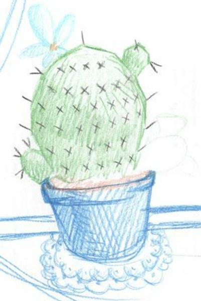Нарисованный цветными карандашами кактус