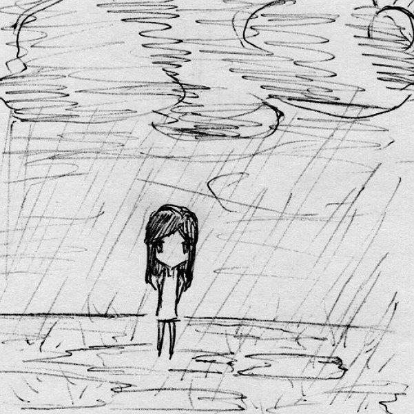 Нарисованная девушка под дождём