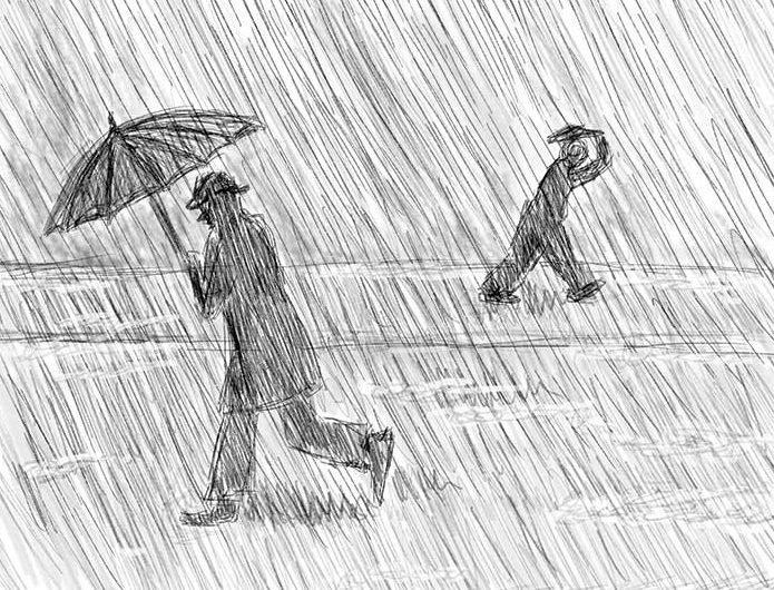 Нарисованные люди под ливнем