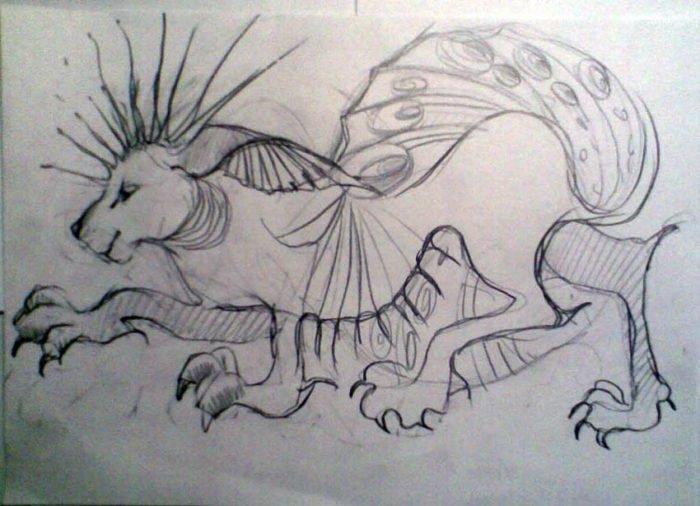 Нарисованный фантастический зверь