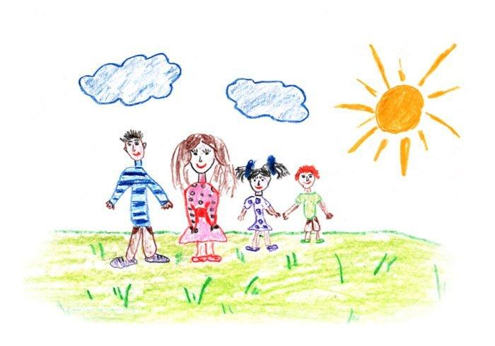 Цветной рисунок семьи