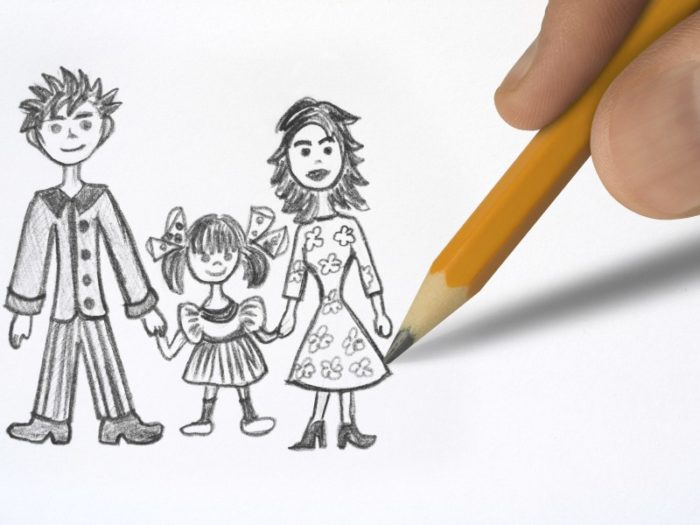 Рисунок семьи простым карандашом