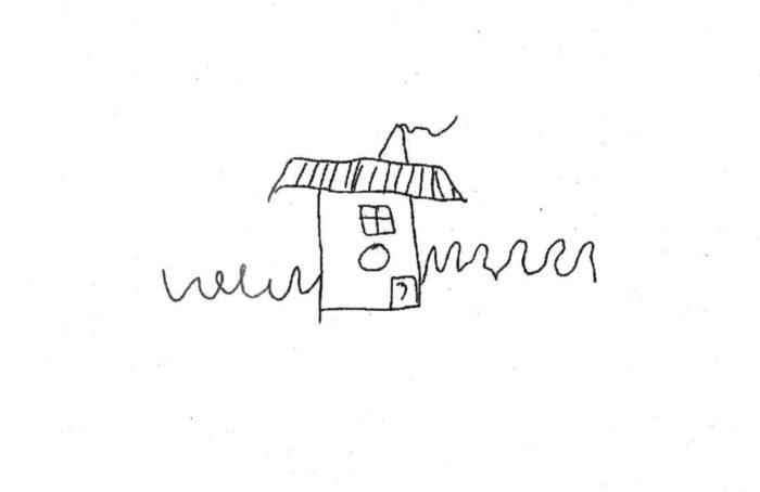 Нарисованный ребёнком домик