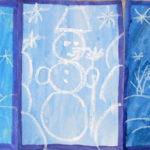 3 рисунка свечой, снеговики