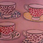 4 чайные пары с обрывной аппликацией