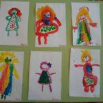 6 рисунков девочек крупными мазками акварелью