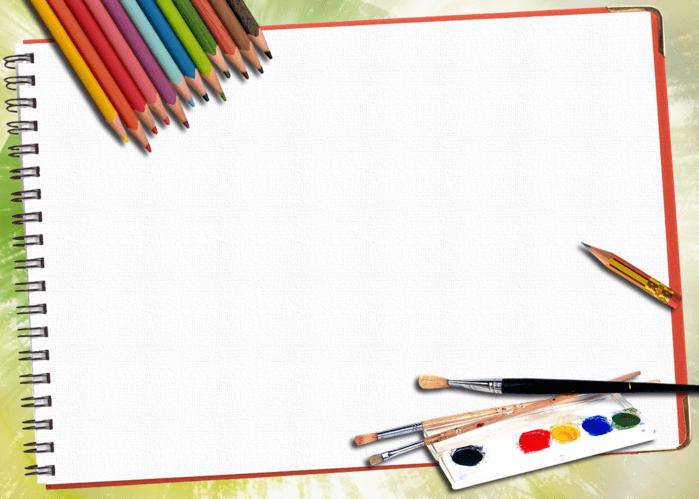 Альбом для рисования, карандаши, краски, кисточки