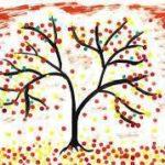 Дерево и листва в красно-коричневой гамме