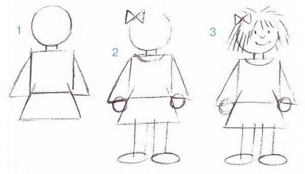 Карандашные контуры девочки, 3 этапа