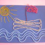 Кораблик нитками на волнах