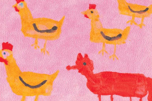 Рисунок на тему «Подвижная игра «Лиса в курятнике»