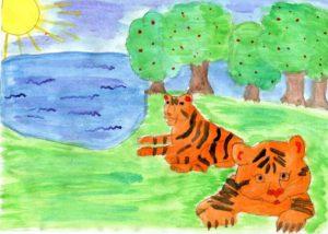 Рисунок тигров