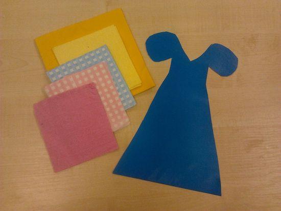 Шаблон синего платья и салфетки