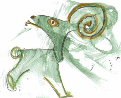 Зелёный козлик (дымковская игрушка)