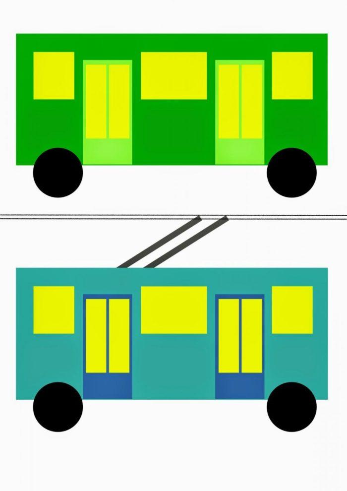 Жёлто-зелёный автобус и сине-жёлтый троллейбус из бумаги
