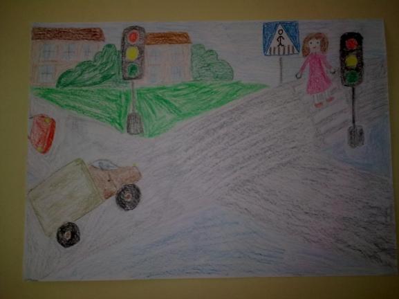 детский рисунок с дорожным знаком