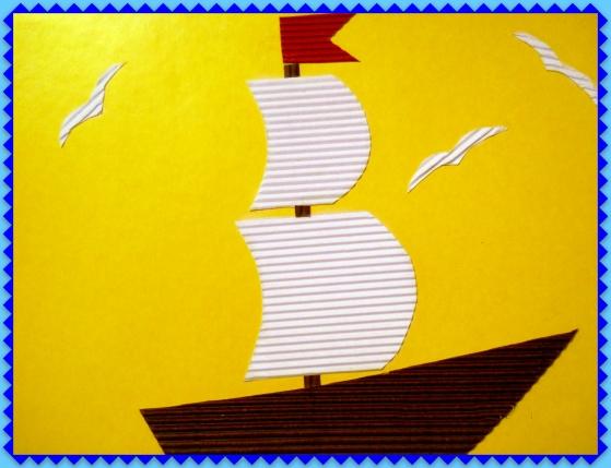 Кораблик с белыми парусами