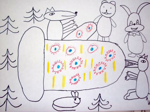 Прорисовка дымковского орнамента