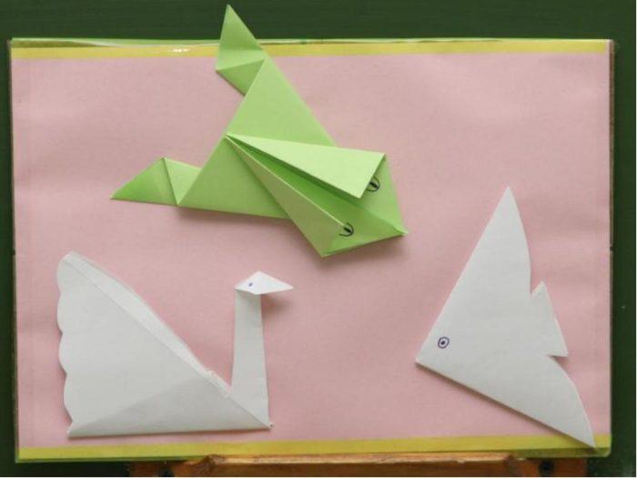Оригами «Лебедь», «Лягушка», «Рыбка»