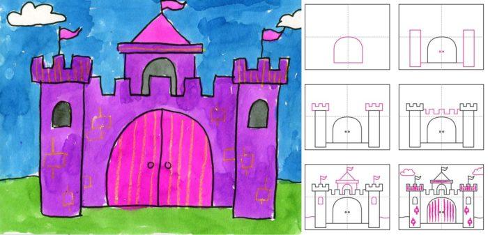 Поэтапное рисование дворца
