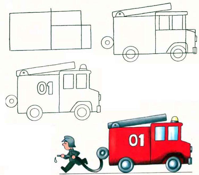 Рисовать пожарные машины ребенку поэтапно