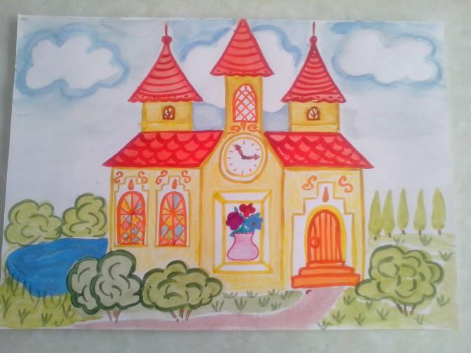Как нарисовать домик в деревне карандашом поэтапно детям