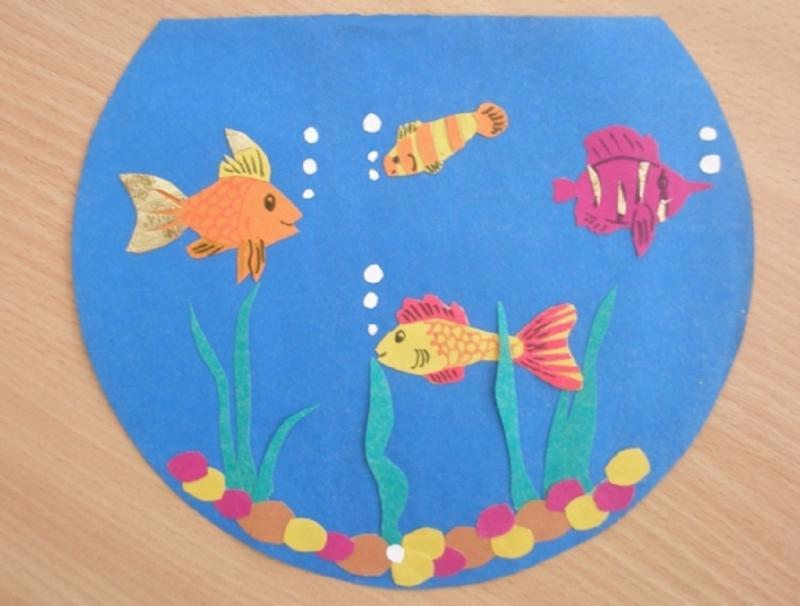 Аппликация «Рыбки в аквариуме» в подготовительной группе ...
