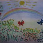 Бабочки летают над лугом