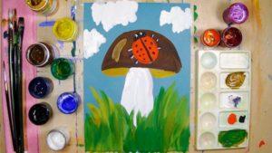 Детский рисунок с изображением гриба