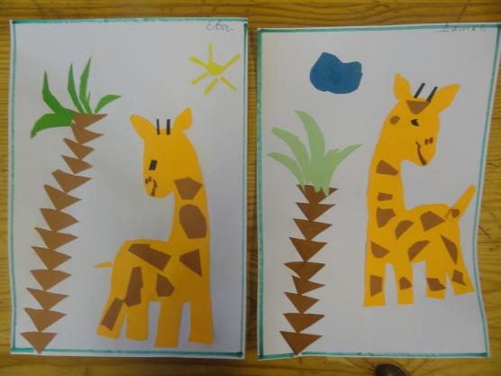 Два жирафа с пальмами на отдельных листах, обрывная техника