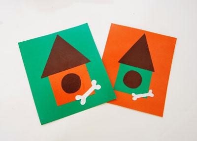 Две будки на зелёном и оранжевом фоне