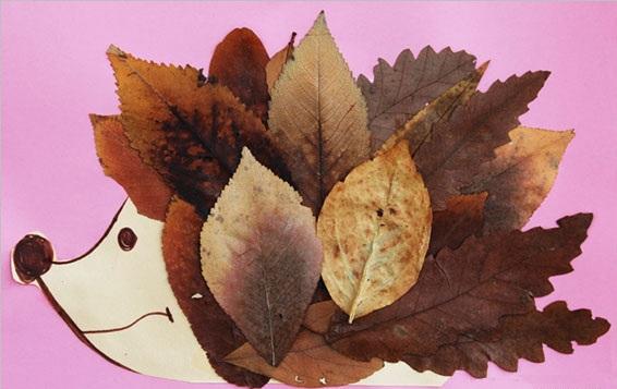 Ёжик из листьев