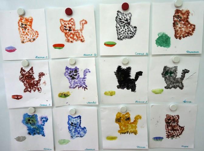 Конспект занятия по рисованию методом тычка выставка рыжих котов в средней группе