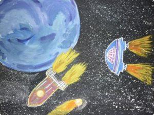 Космос - удивительный мир, яркие образы которого дети с удовольствием воплощают на бумаге