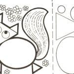 Лиса из геометрических фигур с образцами